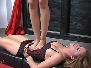 Two Lesbians Trample One Slavegirl