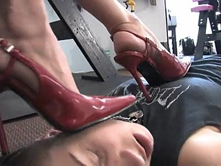 Lesbian Trampling with Red Heels and Bare Feet