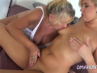 Granny Has Fun With A Blonde Model