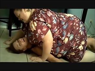 Lesbian BBW Squashes her Girlfriend under her full weight