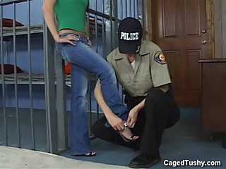 Hot Girl brought in to be searched head to toe