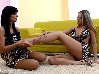 Big titted Angelcia and Zara lick each other by Sapphic Erotica