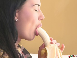 Lucy and Carrie private sucking cock with bananas