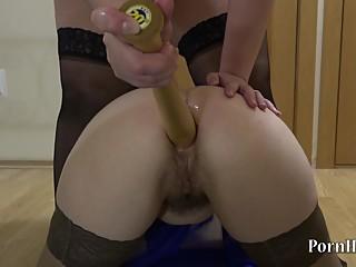 lesbian, anal with a baseball bat!