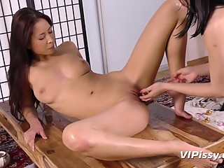 Slutty Asian play with anal beads and finger pussy