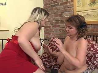 Two big breasted lesbian mothers go to town
