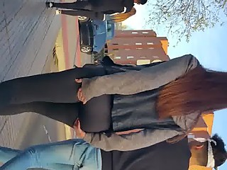 Great ass walking down the road