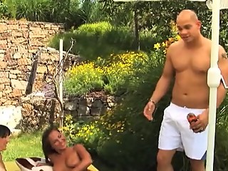 Guy fucking his girlfriend and her stepmom out sunbathing