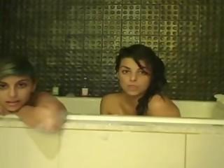 Two Girls Having Fun in the Bathtub