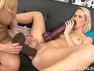 Brutal dildos lesbian sex