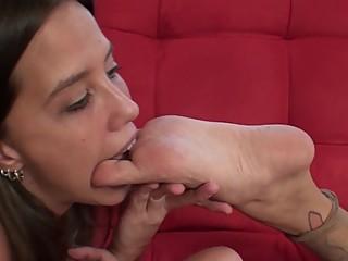 Lesbian girl licking feet