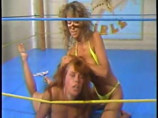 Blonde vs Redhead Topless Wrestling