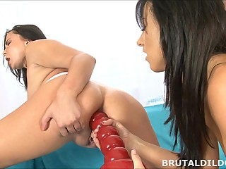 Big red anal dildo prolapsing