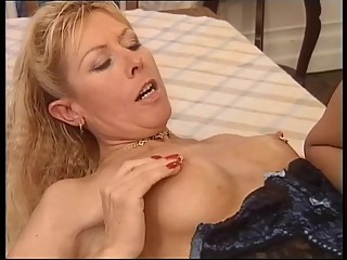 beauty mature take two big toys and fist in pussy