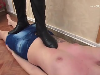 Lesbian Trampling in Dirty Boots and Bare Feet