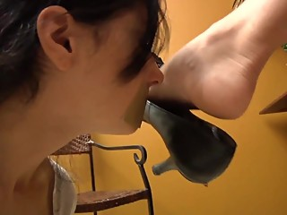 Lesbian smelling her Mistress Shoes