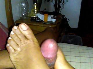 Goddess BABEE PEARL natural ebony toejob pt 3/6 solejob footjob