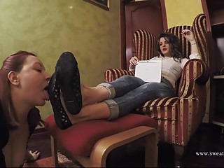 Lesbian Slave licking Dirty Shoes and Sweaty Feet