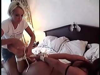 Policewoman (Christina Carter) handcuffed