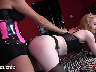 Horny femdom Strapon Jane spanks blondes sexy ass and fucks her tight pussy
